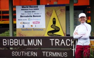 Ultra Runner Bernadette Benson at Bibbulmum Track end